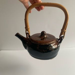 Vintage Pottery Tea Pot with Rattan Handle